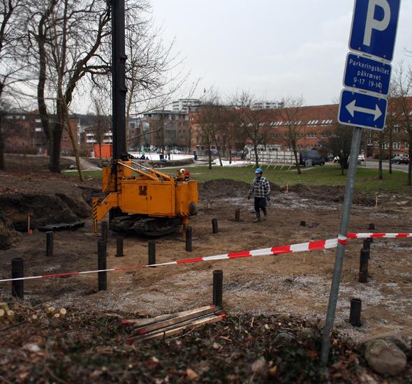 Arbejde på Marias Plads i forbindelse med udvidelse af Byparken, februar 2013